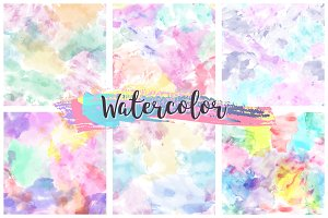 Watercolor seamless pattern set