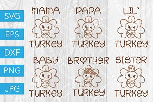 Turkey Family for Thanksgiving SVG