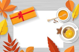 Vector top view of autumn still life