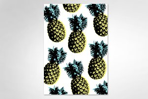 pop art pineapple vector