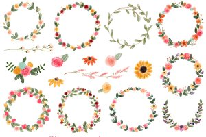 18 Watercolor Wreaths & Flowers, #2