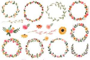 18 Watercolor Wreaths & Flowers, #2