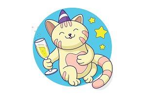 Cat celebrating champagne vector