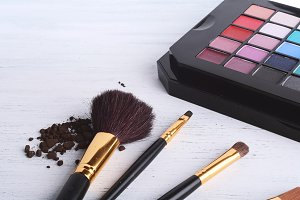 Make up brushes with eye shadows pal