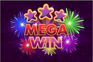 Vector Set MEGA big win banner for