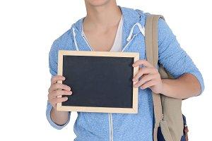 Man holding empty chalkboard