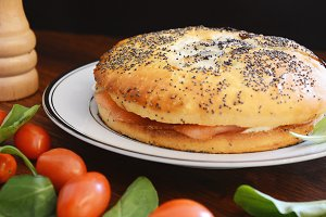 Close up view of smoked salmon bagel