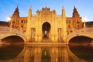 Spain Square at night. Sevilla - Spa