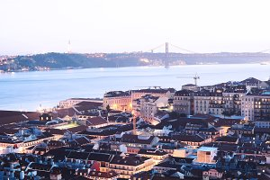 View of Lisbon at sunset.