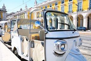 Tuk tuk on street of Lisbon in Portu