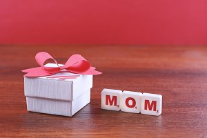 Mothers day background with box and