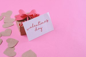 Gift box with valentines day card