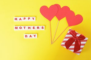 Mothers day background with hearts a