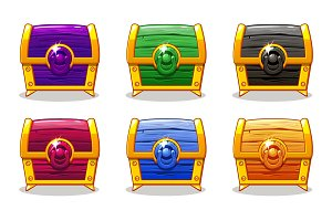 Closed colored wooden chest For Ui