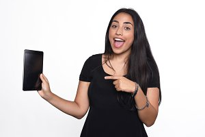 Woman pointing tablet