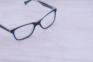 Top view of blue eye glasses