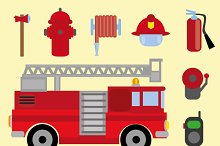 Vector firefighter icons set
