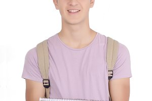 Portrait of student with notebook an
