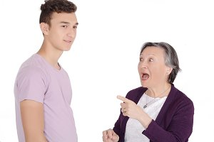Grandmother arguing with her teenage