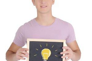 Man holding an empty chalkboard
