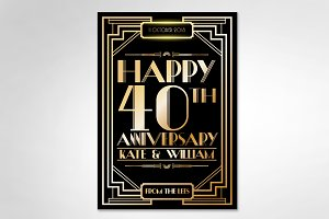 gatsby anniversary template vector