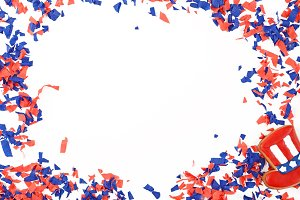 Patriotic confetti background of 4th