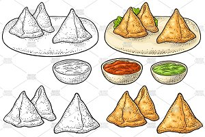 Samosa on board with sauces in bowl