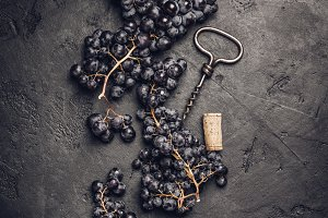 Wine composition on dark rustic back
