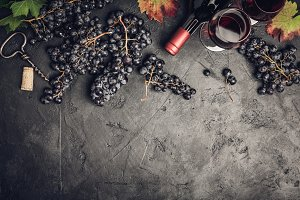 Wine composition on dark rustic back