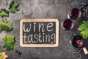Wine testing concept on dark backgro