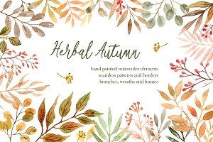 Herbal Autumn. Watercolor Set