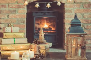 Christmas setting, fireplace