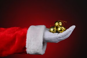 Santa With Handful of Sleigh Bells