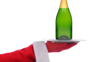 Santa Claus with Champagne Bottle on