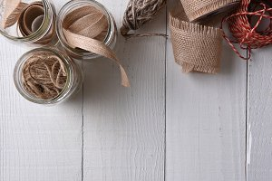 Supplies for wrapping rustic Christm