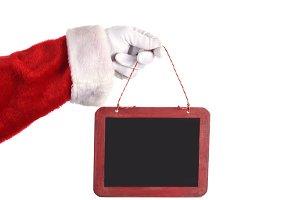 Santa Claus Holding Blank Chalkboard