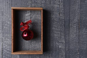 Red Jingle Bell in Wood Frame on Gra
