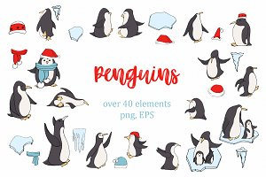 Penguins clipart and winter elements
