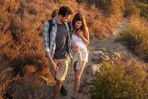 Couple having fun on their hiking