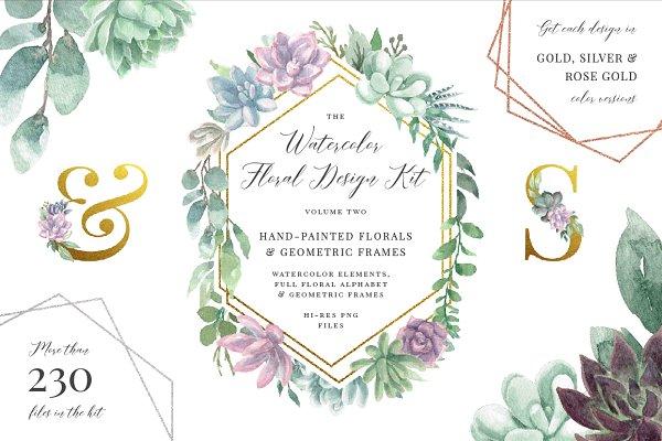 Watercolor Floral Design Kit 2
