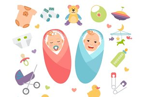 Babies and baby products icons
