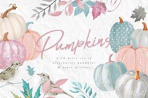 Pumpkins Watercolor Clip Art