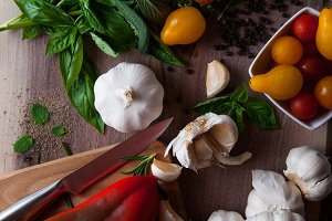 Rustic autumn vegetables for salsa
