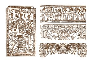 maya, inca and aztec ancient glyphs