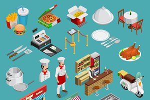Restaurant isometric icons set