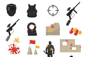 Paintball elements set