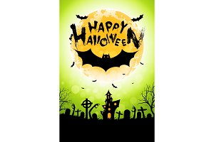 Halloween Funny Background with Bat