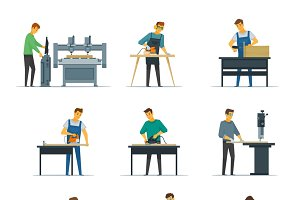 Woodworking services icons set