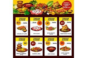Indian restaurant menu offer cards