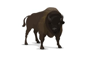 Big cartoon bison wild animal